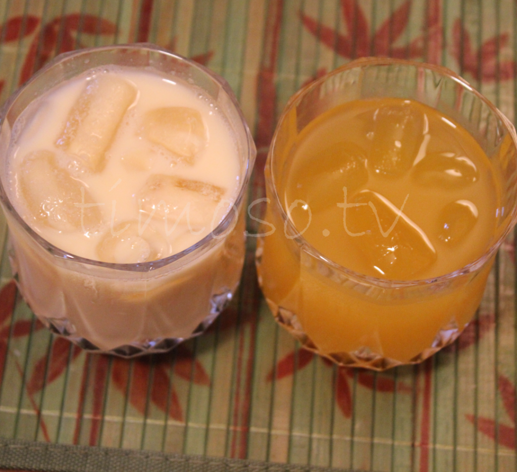 Haitian Passion Fruit Juice with Milk and Cup of Passion Fruit juice