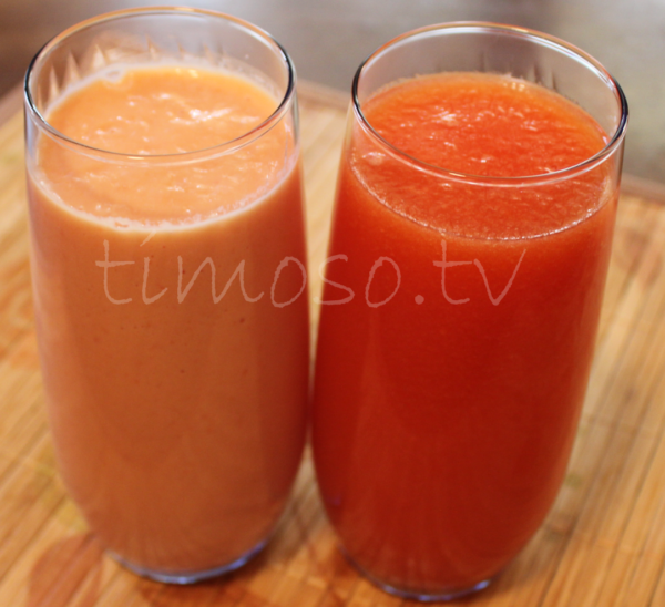 Cup of Papaya Juice and Cup or Papaya Shake